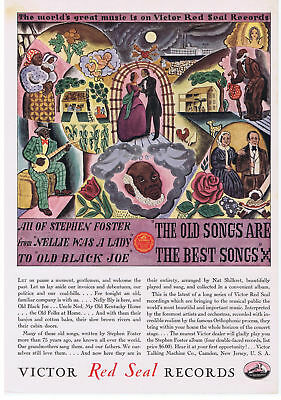 1929 Black Americana Artwork Stephen Foster Victor Red Seal Records Print Ad