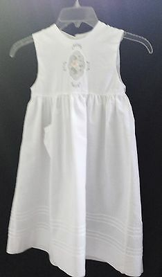 Paper White Embroidered Linen & Cotton Sleeveless Dress - Size 2-3T
