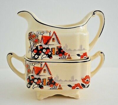 J&G Meakin England SOL Square Art Deco Sugar & Creamer Footed Set - Unusual