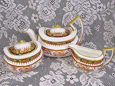 Wedgwood 19Th C. Imari Pat. # 41983 Tea Pot Creamer Sugar Set