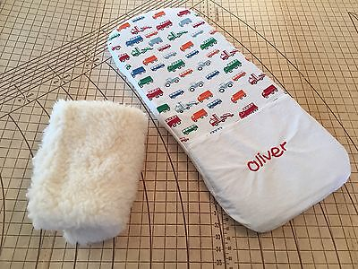 Baby Jogger City Select carrycot bassinet Woollen Underlay + Personalised Sheet