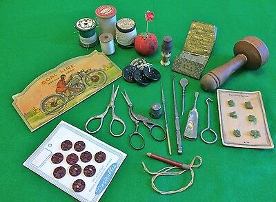 Antique Lot of Old Sewing and Lady Items A Silver Thimble Scissors Boot Hooks +