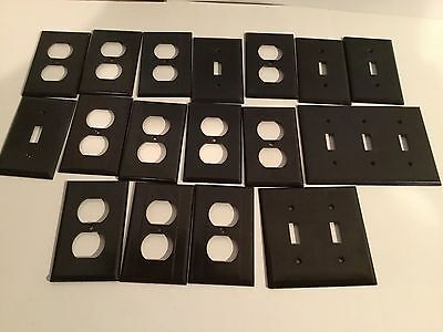 Mixed Brown Lot Vintage Bakelite ? Ribbed Deco Switch Plate  Receptecle Covers