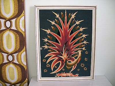 RETRO 1970s ERA PEACOCK FRAMED TAPESTRY PICTURE