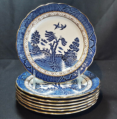 Booths Real Old Willow Blue A8025  Set of 7 Dessert Plates