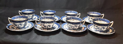 Booths Real Old Willow Blue A8025  Set of 8 Cup & Saucers