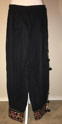 New Women's Black Cotton Shalwar Pant With Ties And Detail On Hem