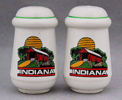 Vintage Souvenir INDIANA Salt Pepper Shaker Set USA Retro Ware Kitchenalia 70s