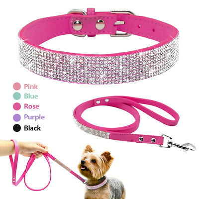 Bling Rhinestone Puppy Pet Dog Collar and Leash Set for Small Breeds Pink Purple