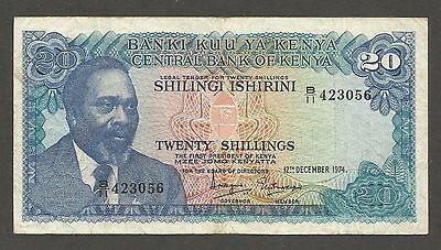 Kenya 20 Shillings 1974, VF; P-13, L-B113a, Mountain; Lions