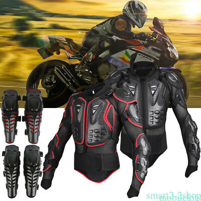 Motorcycle Racing Body Chest Protective Jacket & Knee Pad Armor Guard Safety