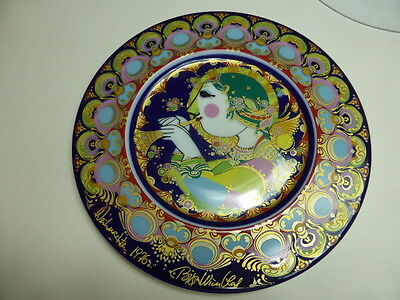 Rosenthal Porcelain Christmas Plate 1976 Angel with Trumpet, Björn Wiinblad,