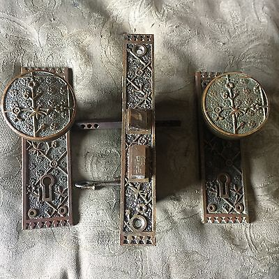 Antique Collectible Sargent EKADO Lockset  Bronze DoorKnobs & Backplates 1885s