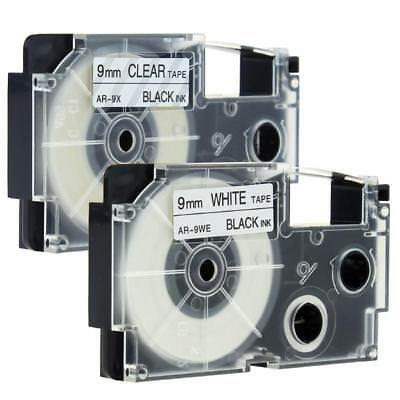 2pk Compatible Casio XR-9WE XR-9X Black on White Clear 9mm Label Tape KL430