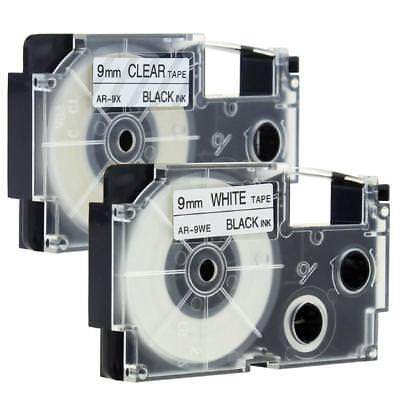 XR-9WE XR-9X Compatible with Casio Black on White Clear 9mm Label Tape KL430 2pk