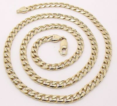 Solid 10Ct Yellow Gold Curb Link Necklace/neck Chain