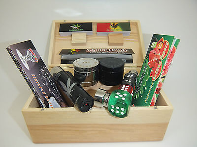 DELUXE GIFT SET MEDIUM SMOKING SMOKERS ROLLING BOX Herb Grinder