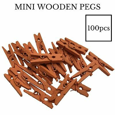 100pcs 25mm MINI WOODEN PEGS Natural Craft Baby Shower Clothes Line Pin BULK