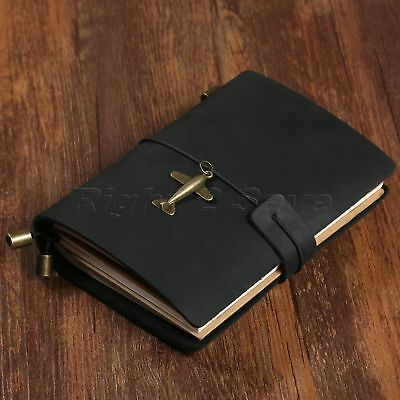 Vintage Black Leather Journal Travel Notepad Notebook Blank Diary Passport Book