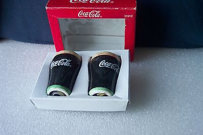 """COCA - COLA BRAND SALT & PEPPER SHAKER SET 1999 Old Stock Collectible 3 1/2"""" tal"""