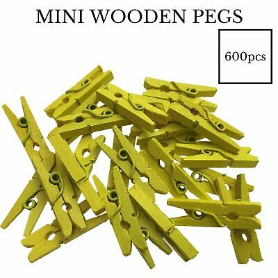 600pcs MINI WOODEN PEGS Natural 25mm Craft Baby Shower Clothes Line Pin BULK