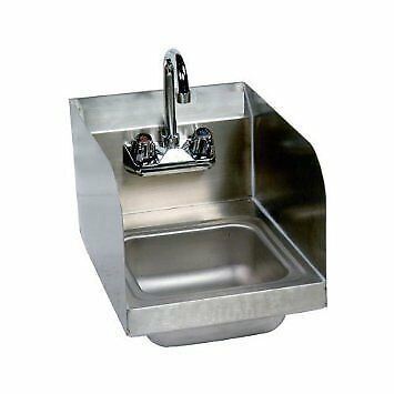 Stainless Steel Hand Sink with Side Splash - NSF - Commercial Equipment 10'' X