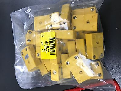 25 x Standard Thermocouple Connector In-Line Socket JS-J-F Type J JIS Yellow