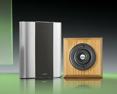 Libra+ Classic 100m Wireless Doorbell kit Matte Black Push/Honey Oak, D912HMB