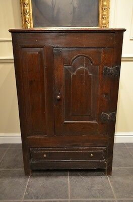 Fabulous 17th C Oak Panelled Cupboard with arch door and  a wonderful colour