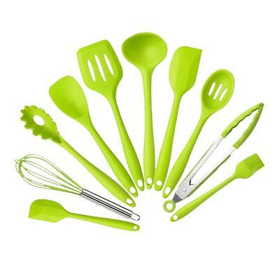 10pcs Kitchen Utensils Set Home Cooking Tools Gadgets Turners Tongs Green