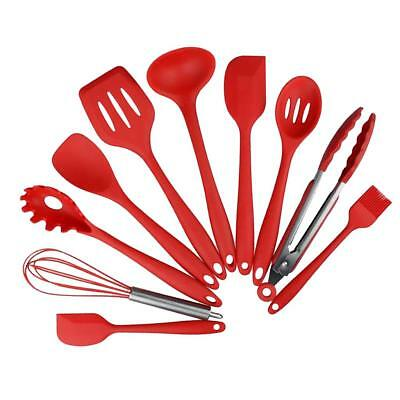 Kitchen Utensil Set Silicone Cooking Tools Ladle Spatula Tong Red 10 pieces