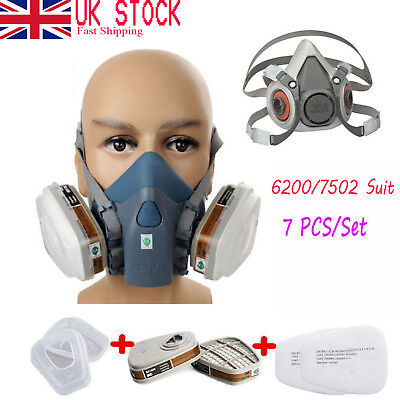 6200 7 in1 Suit Spray Paint Dust Mask Vapour Particulate Reusable Respirator #UK