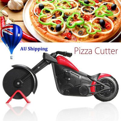 Non-stick Pizza Wheel Cutter Chopper Slicer Kitchen Tools Motorcycle Stand MN