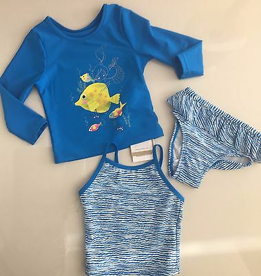 Baby Girls Bikini 3 Piece Set Sun Protection Swim Top  12-18 Mth Upf 40+ M&s