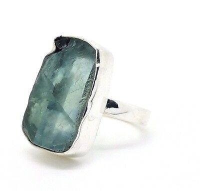 20x10mm 925 Sterling Silver & Rough Green Fluorite Ring UK Size M  (+ Gift Bag)