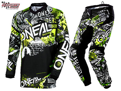 O'Neal Element Attack Motocross Combo 2019 Schwarz Neon MX Enduro Hose Jersey