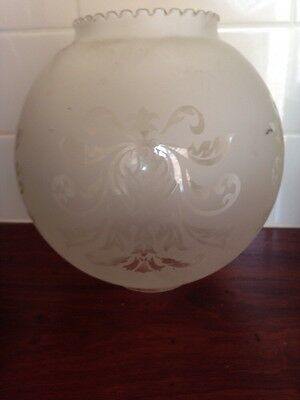 Vintage Glass Round Pendant Ceiling Light Fitting Frosted With Clear Pattern X 2