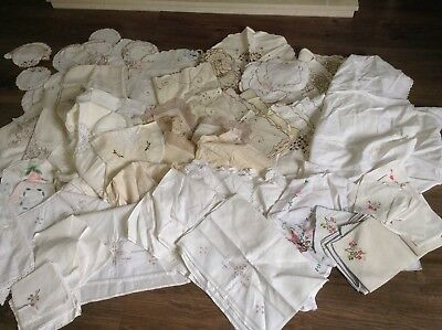 Vintage Linens Job Lot Over 120 Items