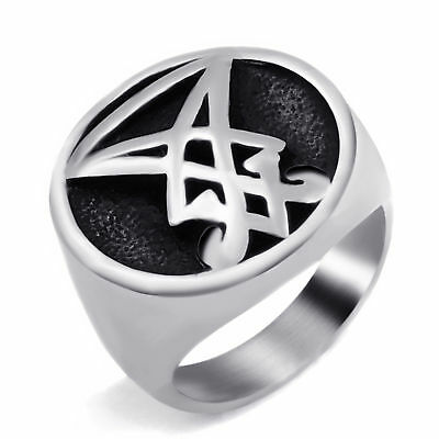 Men's Sigil of Lucifer Seal of Satan Silver Solid Stainless Steel Ring Size 7-15
