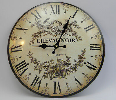 Wall clock HORSE NOIR French Country House Style Watch Metal Antique RETRO Look