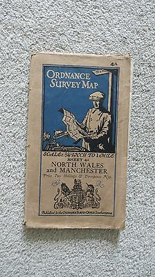 Ordnance Survey Map North Wales and Manchester-Dated 1930-with Railway Revisions