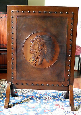 Antique Furniture A novelty Fire Screen Arts & Crafts American Indian C.19/20th