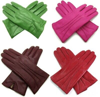 Ladies Womens Premium Quality Real Super Soft Leather Gloves Faux Fur Lined Warm