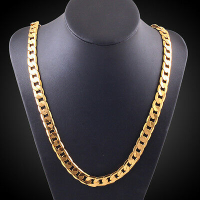 Long Necklace Mens 18k Yellow Gold Plated Italian Cuban Curb Link Chain 10MM 20i
