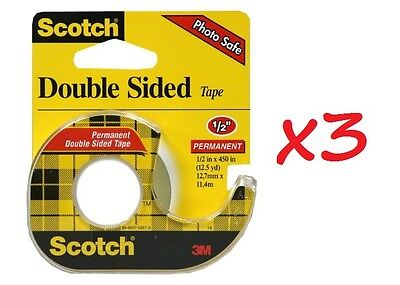 """LOT OF 3 - Scotch Double Sided Tape With Dispenser, 1/2"""" x 450"""" each"""