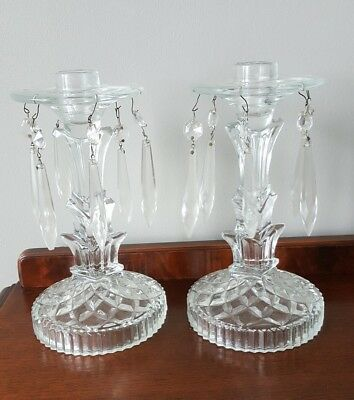 Vintage Glass Candlesticks Hanging Prisms Candle Holders 1950s Mid Century Pair