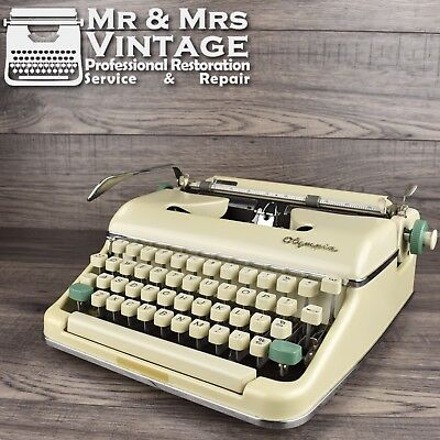 Vintage Olympia SM5 Typewriter Off White Working Serviced Black Ribbon portable