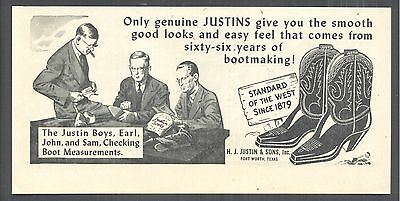 The Justin Boys, Earl, John and Sam, 1946 Justin Boots Magazine Print Ad