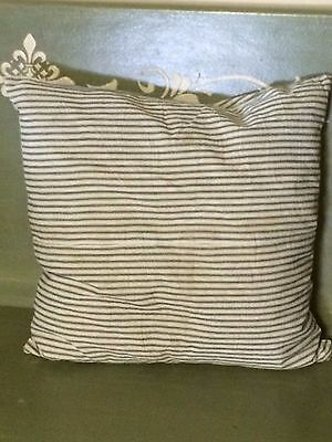"""Excellent Vintage Feather Pillow Blue Stripe Ticking 19"""" Square weighs 3 lbs"""