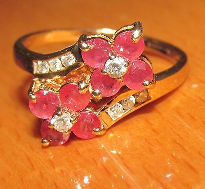 STUNNING SECONDHAND 9ct YELLOW GOLD RUBY & DIAMOND BAND RING SIZE N 1/2